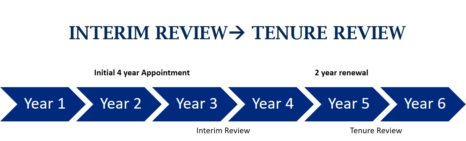Visual representation of interim review and tenure review dates set out by the PPAA, 2015.